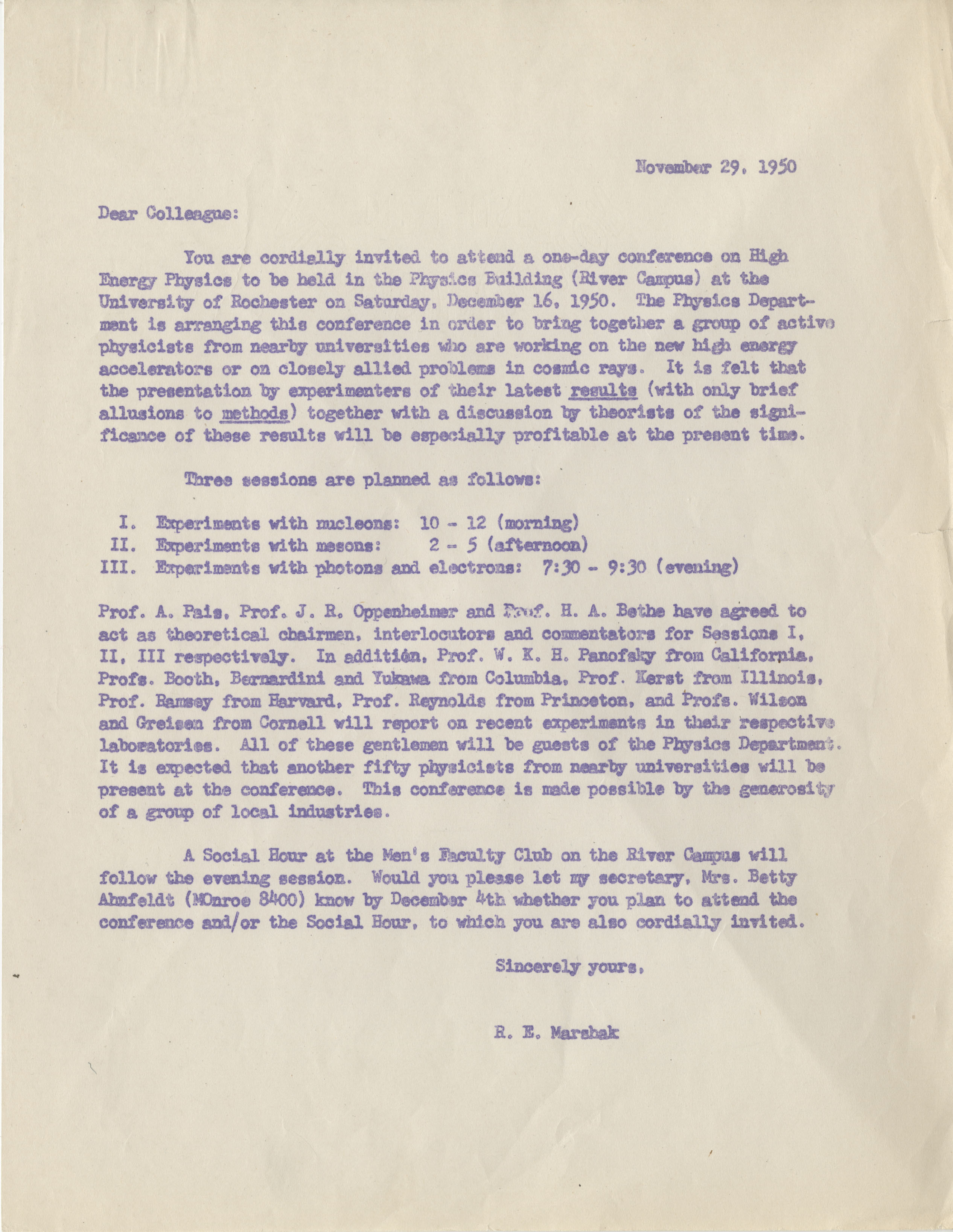 Conference Invitation, 29 November 1950