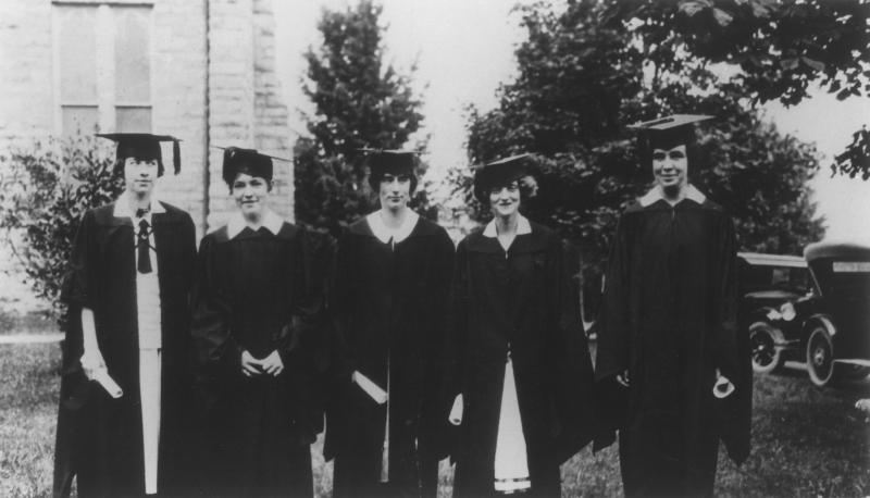 First female graduates: Mary Ella Carr Brumfield (23; 25); Ruth Louise Terrett (25); Lucy Lee Lancaster (25); Lousie Jacobs (25); Carrie Taylor Sibold (25)