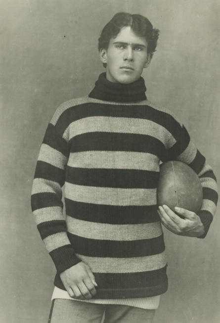 Norbon R. Patrick, a guard on the 1893 team, poses in the jersey that necessitated a change of school colors.