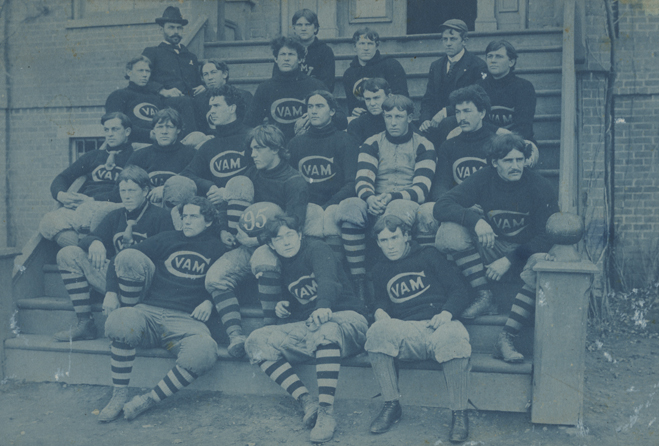 The black jersey sported by the 1895 team, just prior to the schools name change, featured the letters AMC encircled by a large C in white.
