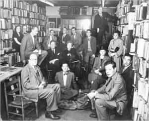 Gotham Book Mart, 9 November 1948. Among the authors present: W. H. Auden, Stephen Spender, Elizabeth Bishop, Marianne Moore, Gore Vidal, Delmore Schwartz, Tennessee Williams, Randall Jarrell