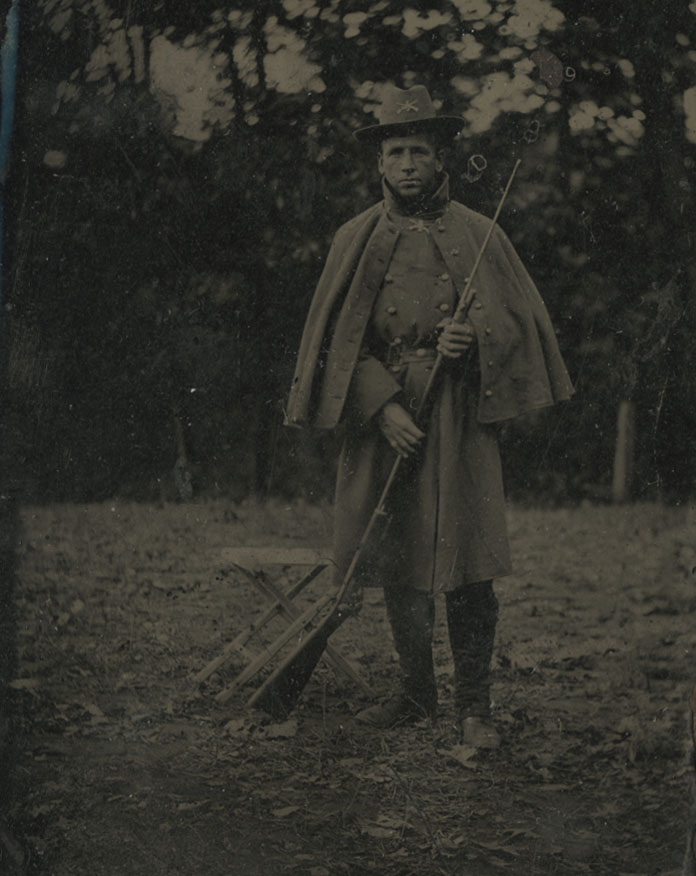 The James Collections includes many tintypes, including these two interesting photos of Civil War soldiers. Might one or both of these photos be of Joseph P. James?