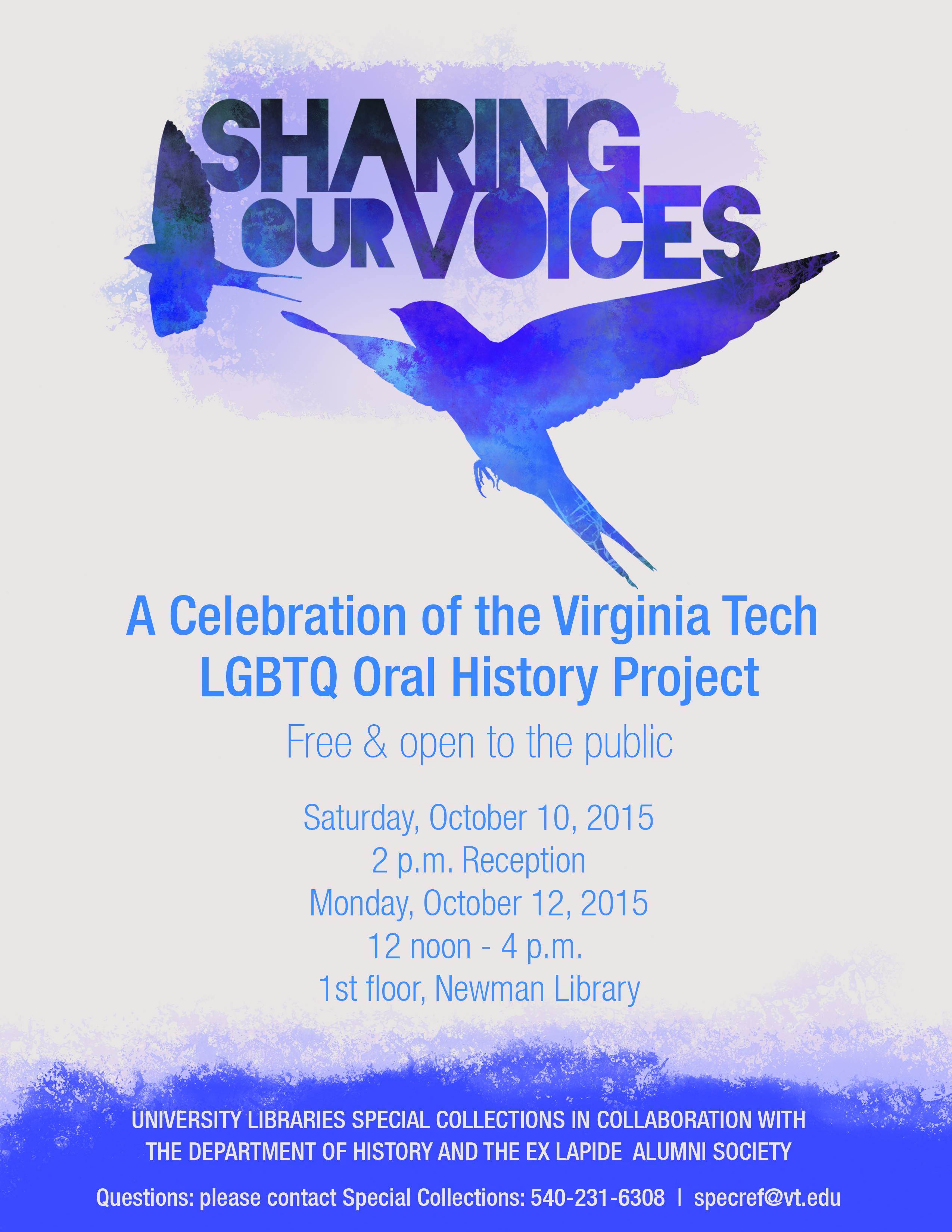 Invitation to celebration of Virginia Tech LGBTQ Oral History Project