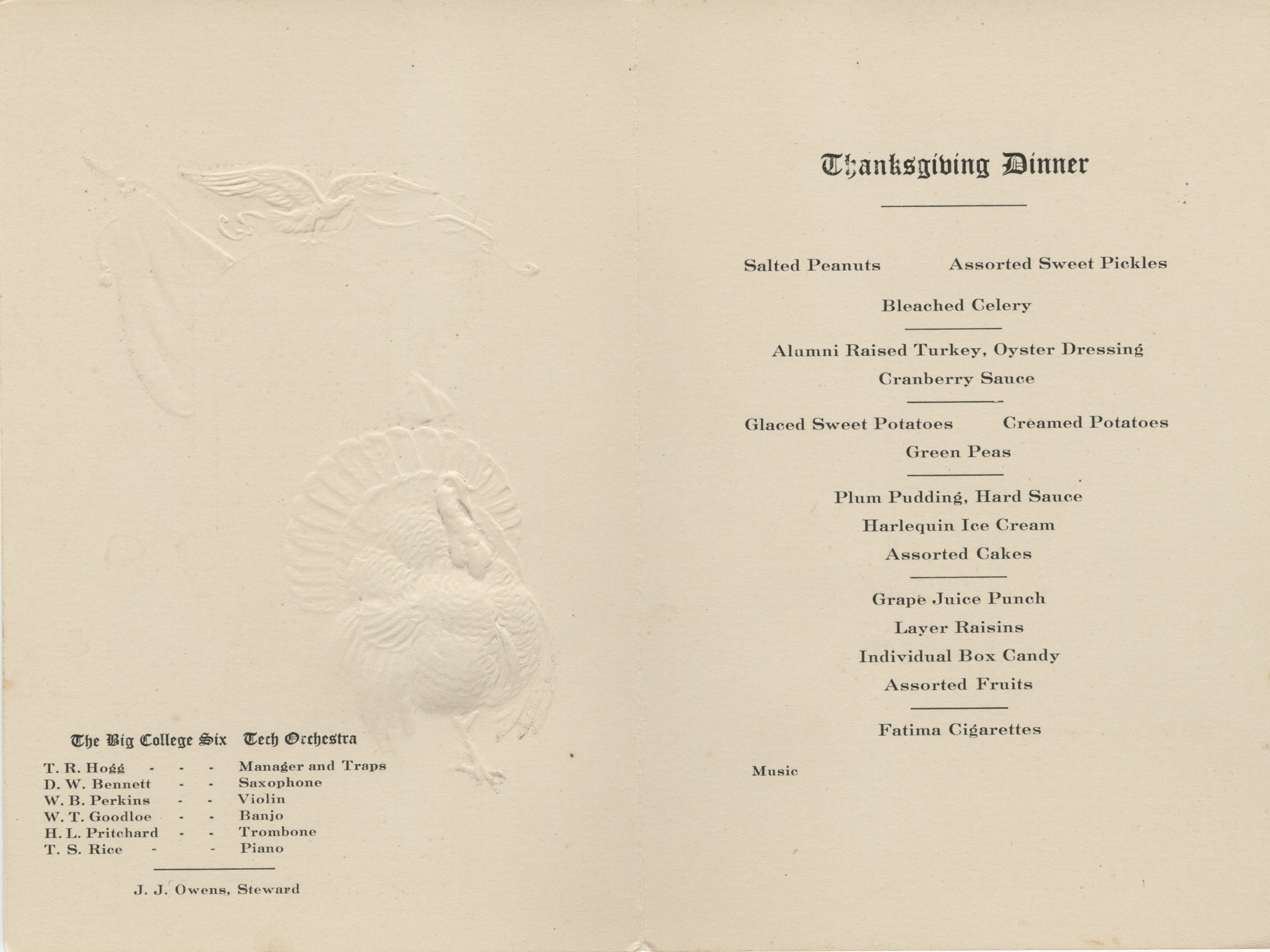 1921 Thanksgiving DInner Menu
