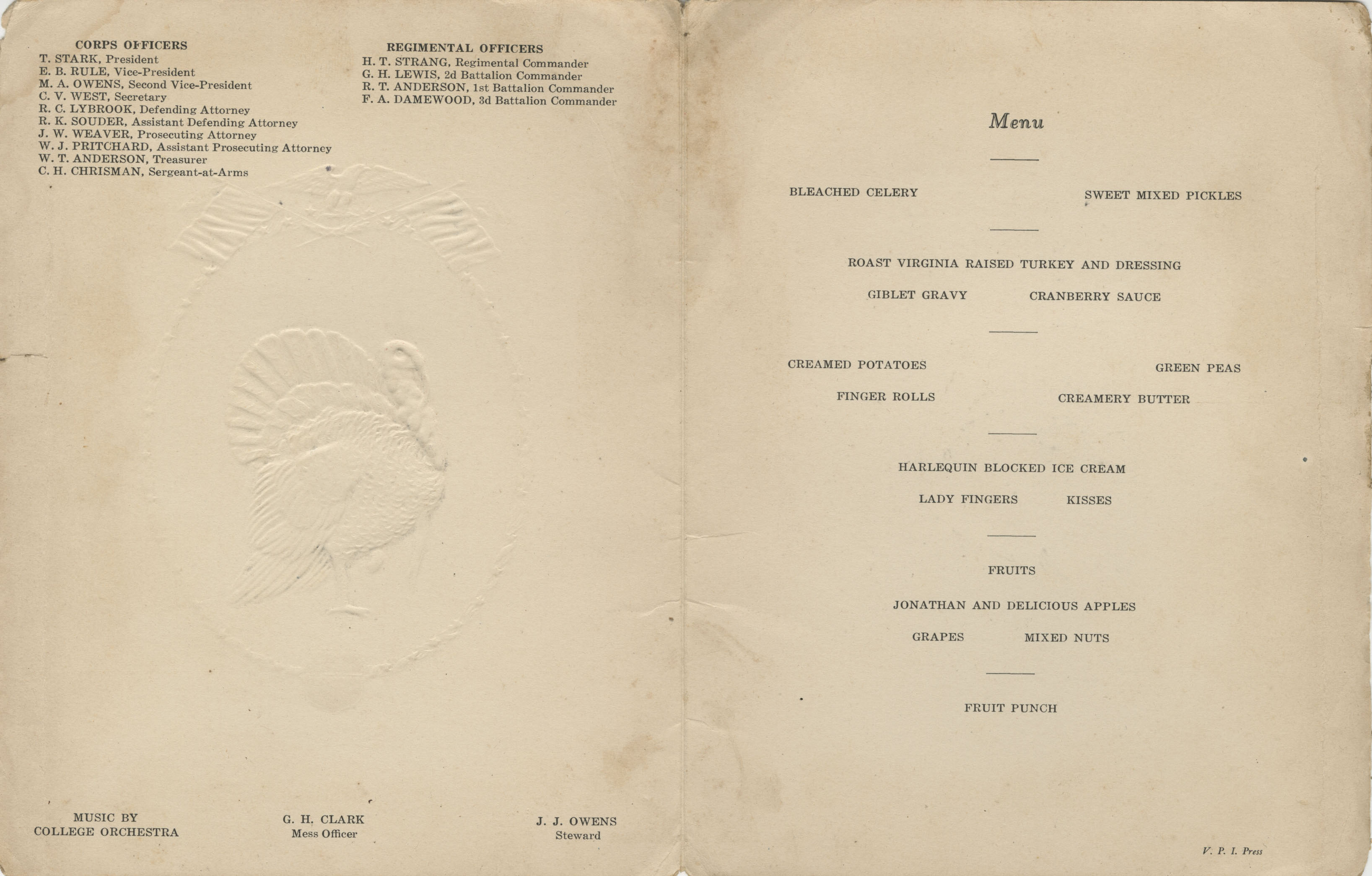 1929 Thanksgiving Dinner Menu