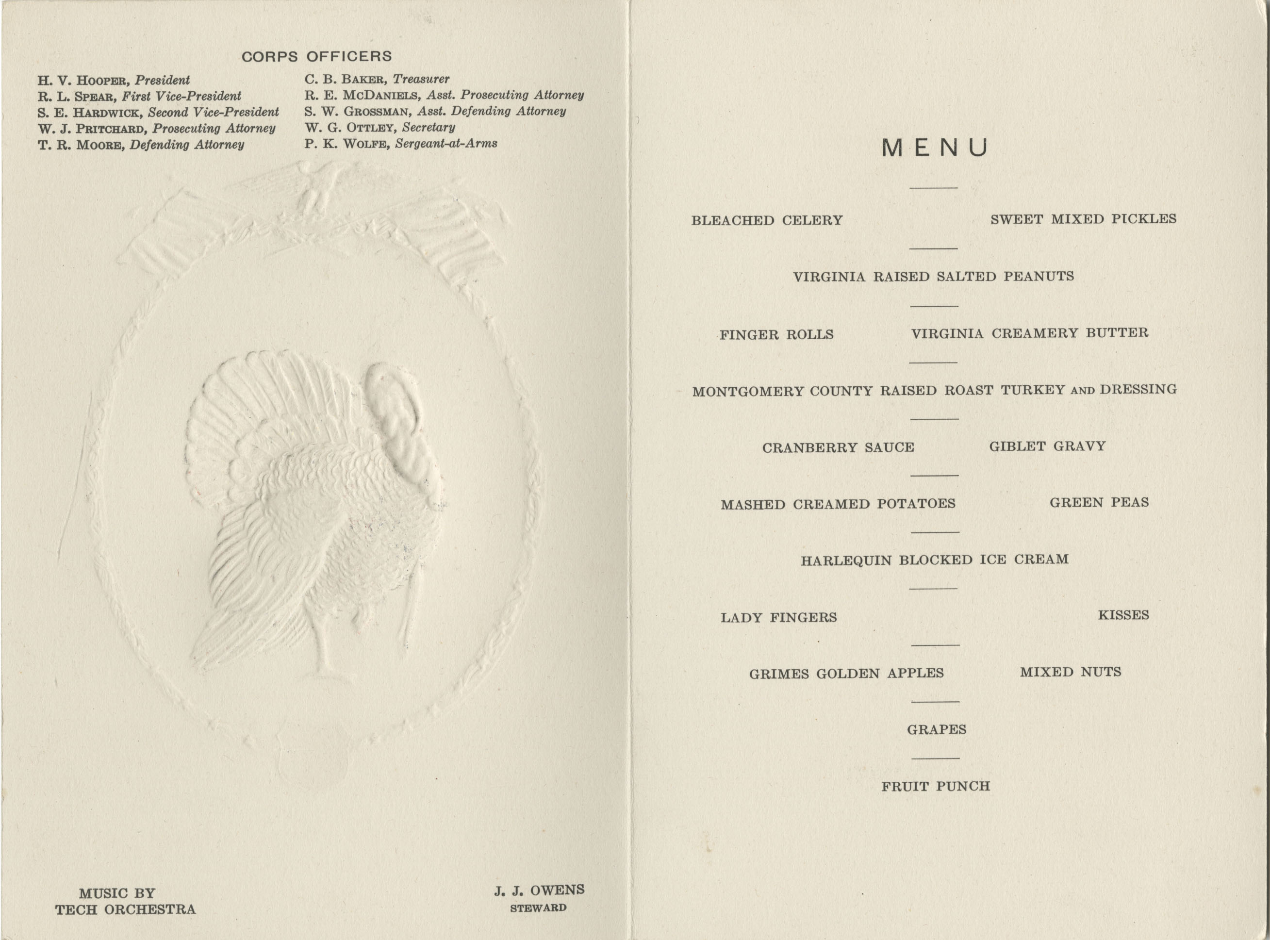 1930 Thanksgiving Dinner Menu