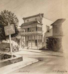Sketch of Main Street in Blacksburg, Virginia by G. Preston Frazer