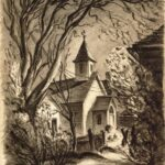 Church in Blacksburg, Virginia (sketch) by G. Preston Frazer
