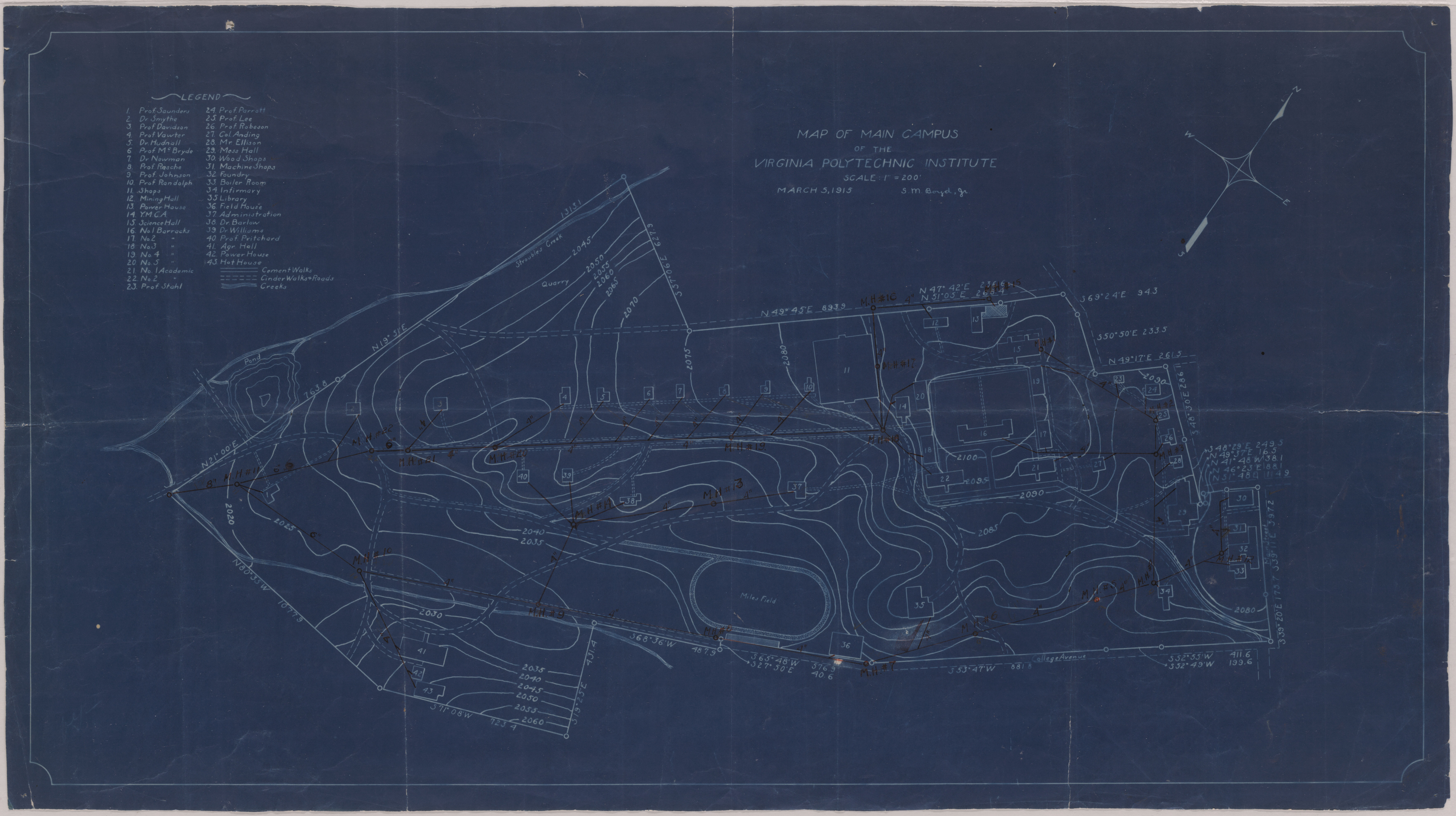 Map of Virginia Polytechnic Institute, 1915