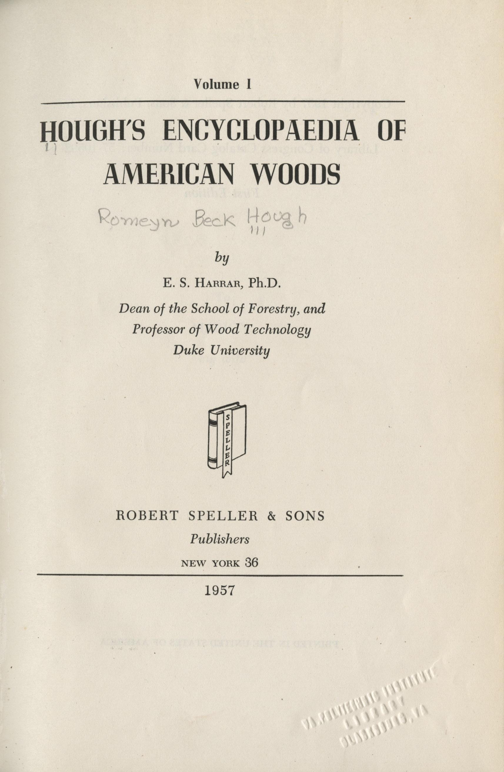 Title page, <em>Hough's Encyclopedia of American Woods</em>