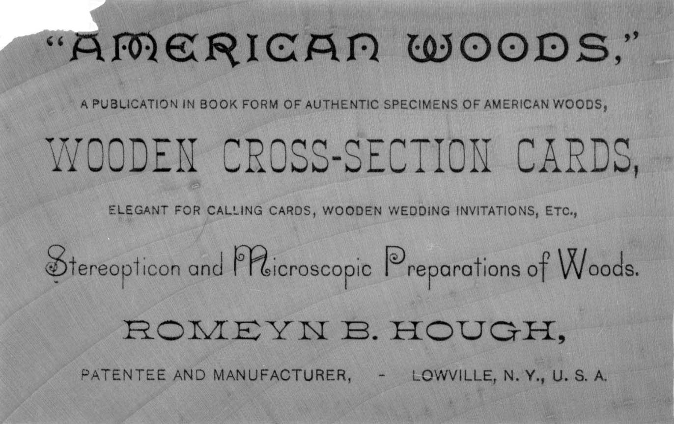 Advertisement for The American Woods on one of Hough's Wooden Cross-section Cards (from the Library of Congress)