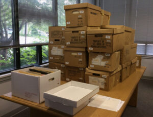 Wampler Papers being processed at Library Storage Building