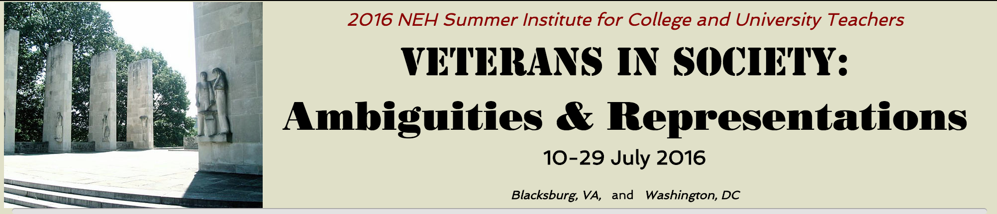 Masthead for the Veterans in Society Summer Institute website
