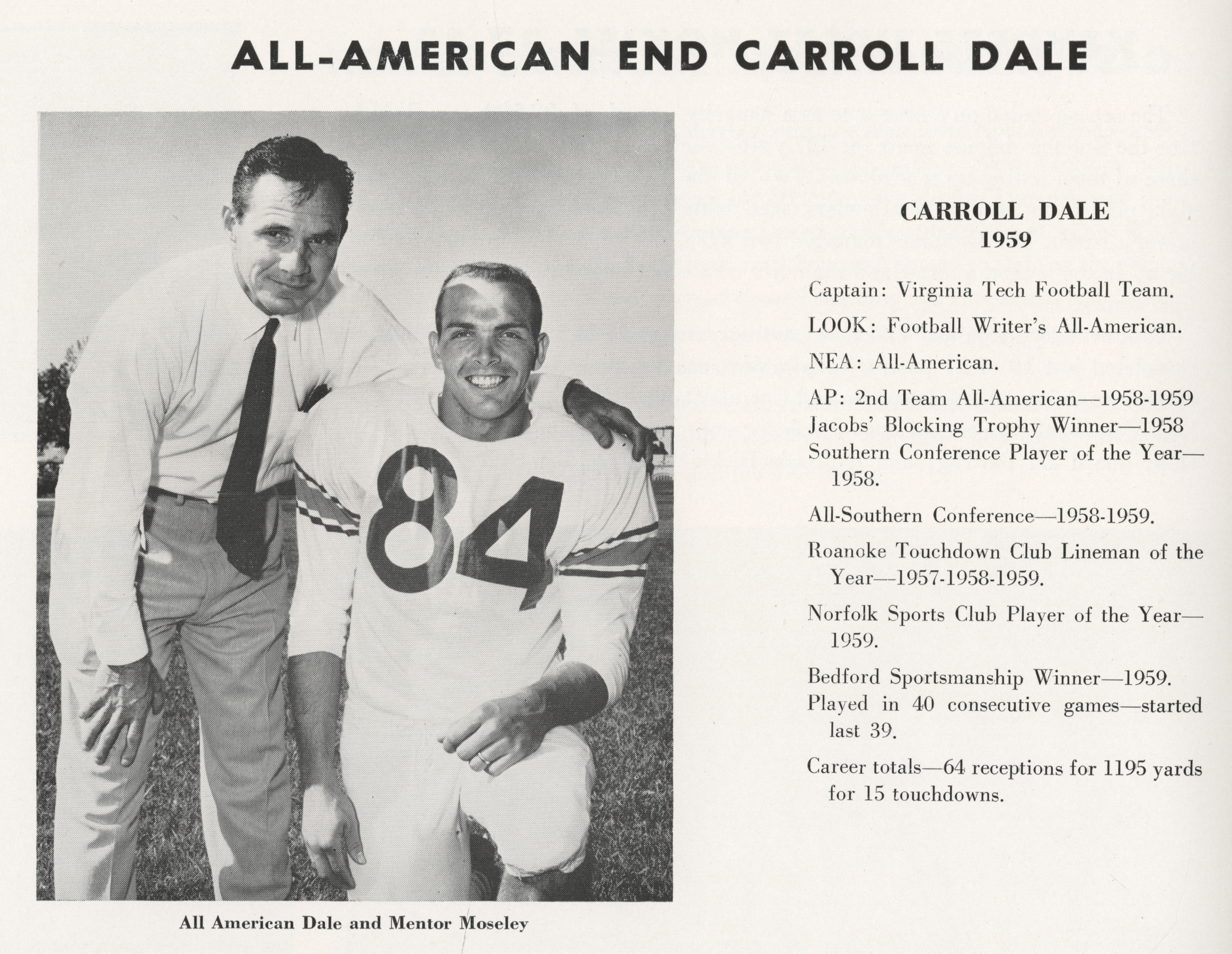 Carroll Dale with coach Frank Moseley