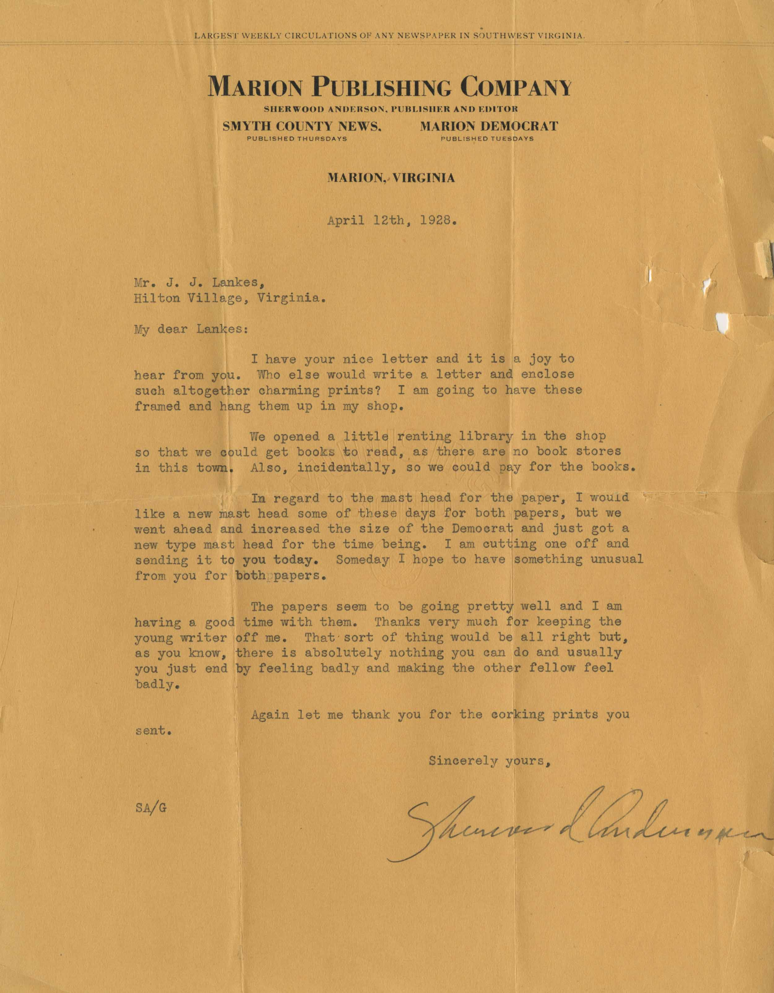 A 1928 letter from Anderson describing his opening a small library in Marion.