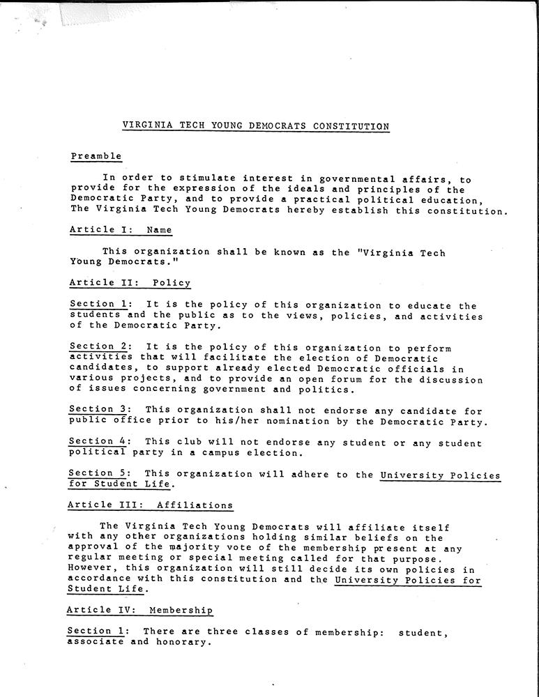 Virginia Tech Young Democrats Constitution, p1