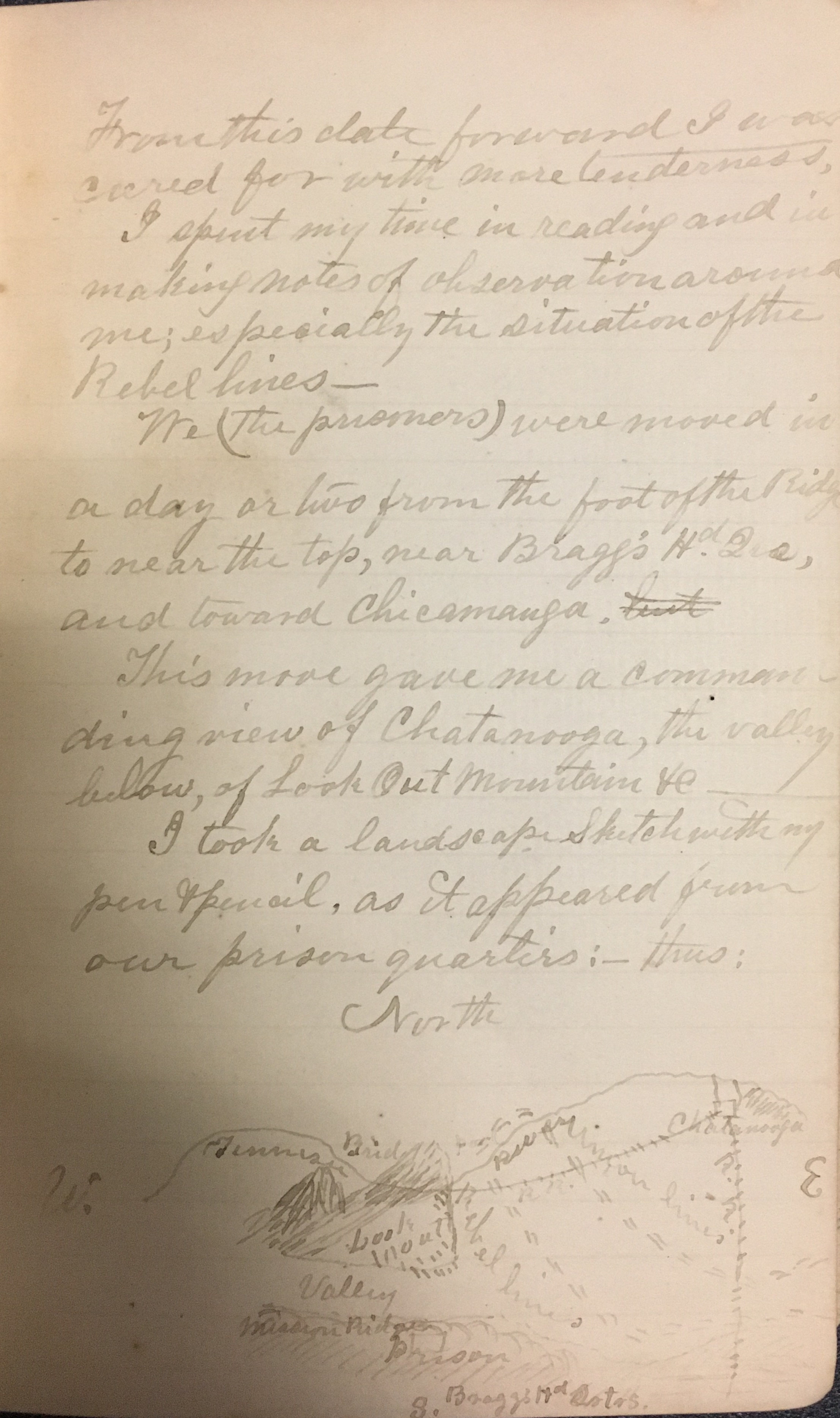 Page from Woods' memoir, including a drawing of his view of Chattanooga.