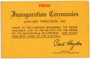 Ticket for Pres. Harry S Truman's 1949 presidential inauguration