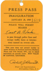 Press Pass for Pres. Harry S Truman's 1949 presidential inauguration, front