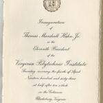 Program for Hahn's 1963 presidential installation