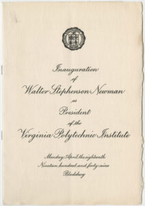 Program for Newman's 1949 presidential inauguration