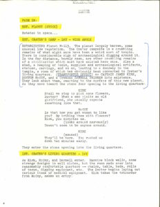 """First page of dialogue from """"The Man Trap"""" script"""