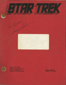"""James Doohan's copy of the final script of """"Man Trap,"""" the first episode of Star Trek to be broadcast. Doohan played Mister Scott, and that is his signature on this front cover. The show was first aired on 8 September 1966."""
