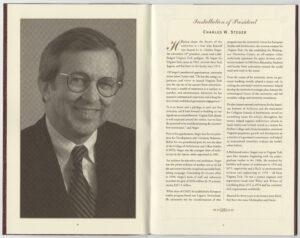 Program for Steger's 2000 presidential installation