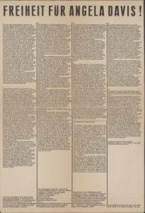 German Language poster: Freiheit fuür [Freedom for] Angela Davis, c. 1971-72 (back)