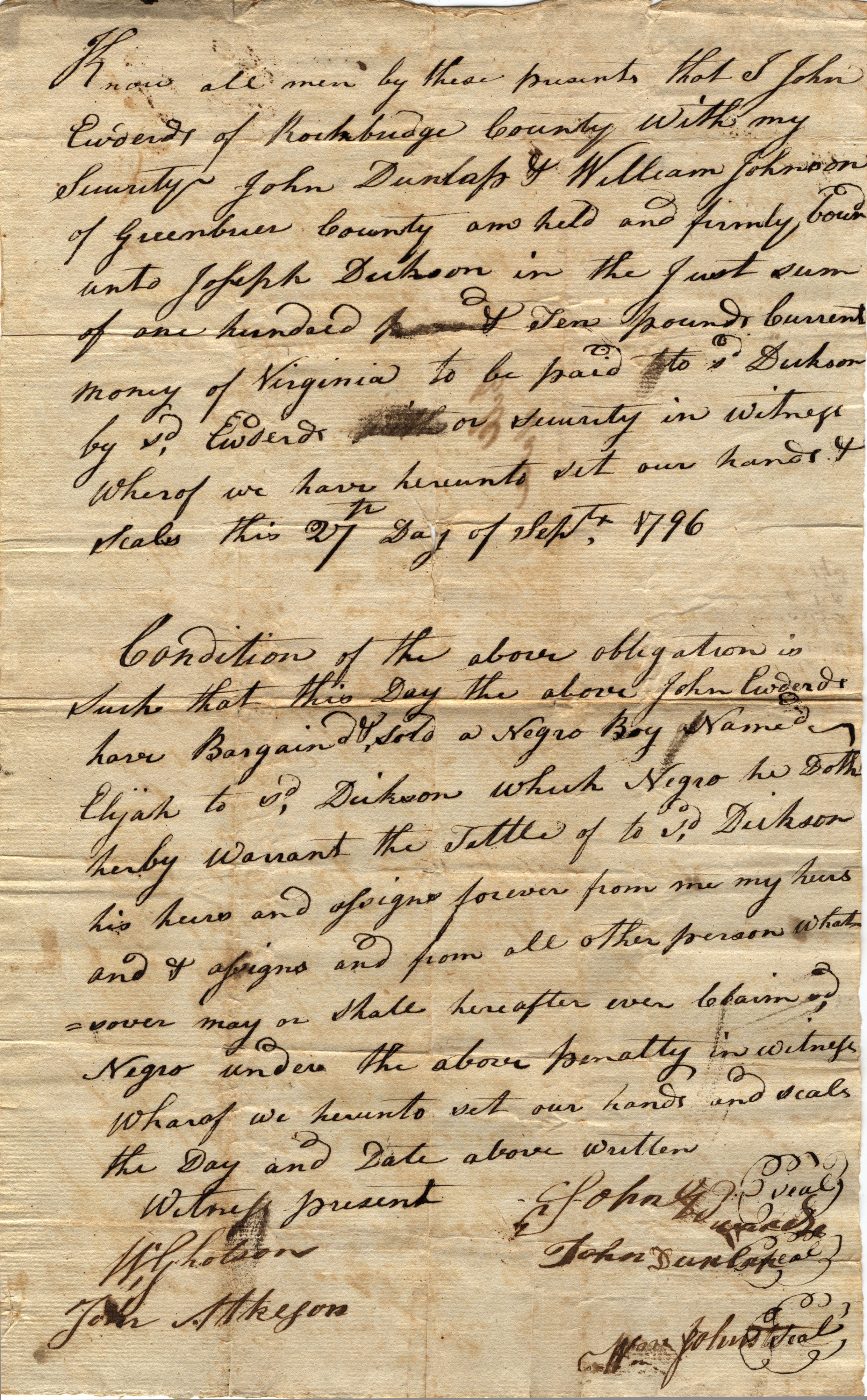 A bill of sale for a slave, a young boy named Elijah, in 1796