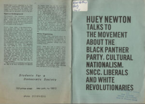 Huey Newton Talks to the Movement, SDS, Students for a Democratic Society, undated
