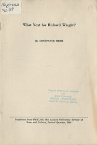 What's Next for Richard Wright, Constance Webb, 1949What's Next for Richard Wright, Constance Webb, 1949