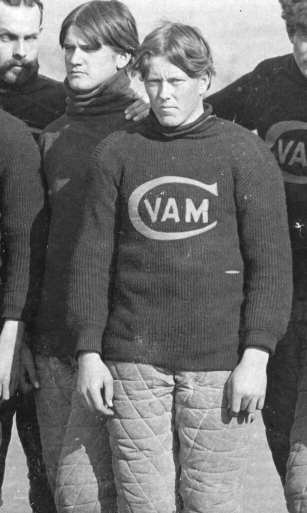 Students in shirt featuring Virginia Agricultural and Mechanical College logo in 1895