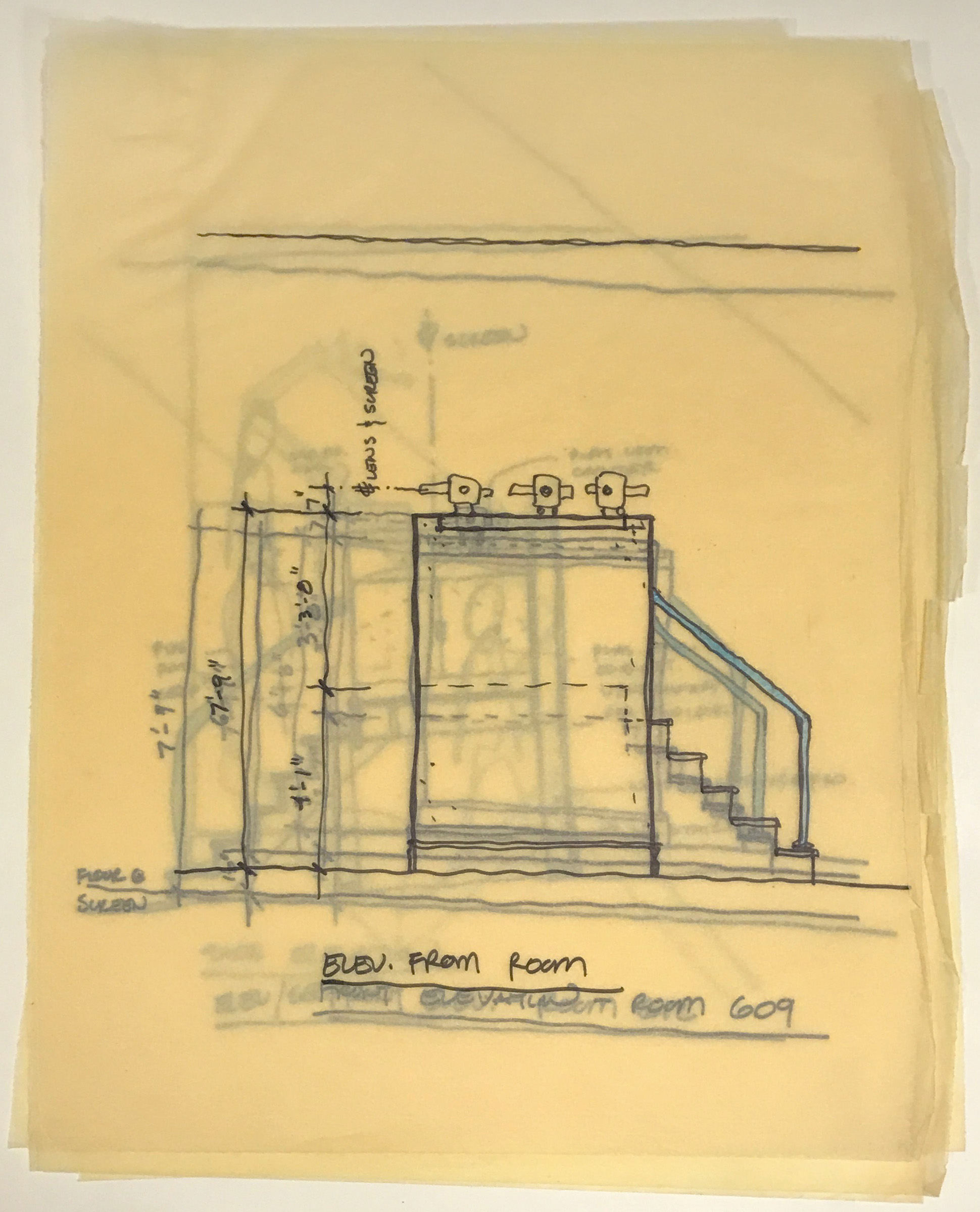 A stack of sketches of room elevations and details, drawn on transparent paper.