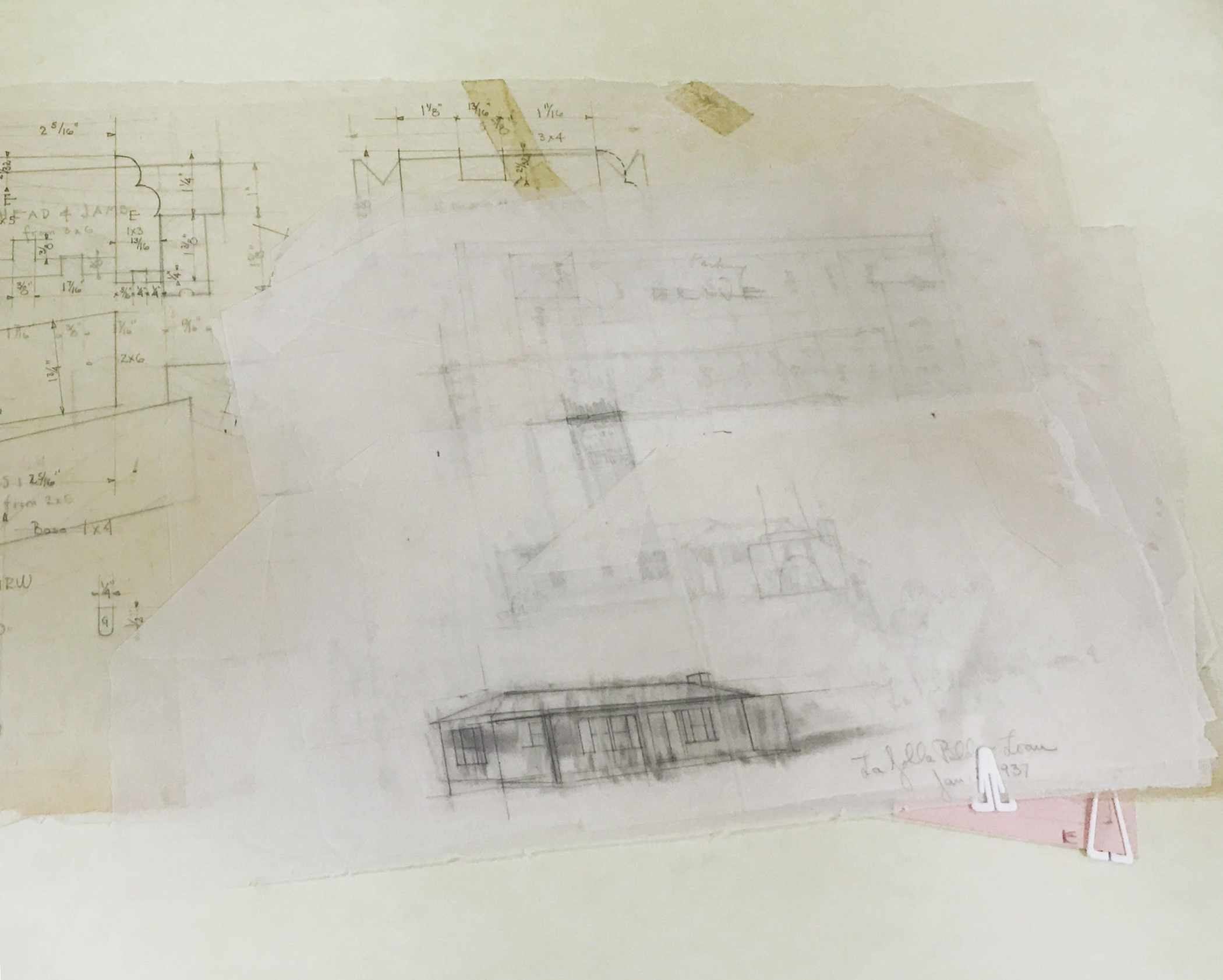 Architectural drawings and sketches in a folder