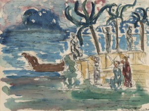 Landscape with boat and women near the shoreline