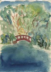 Landscape with trees and red bridge over a waterway