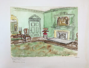 Room interior with fireplace and green walls