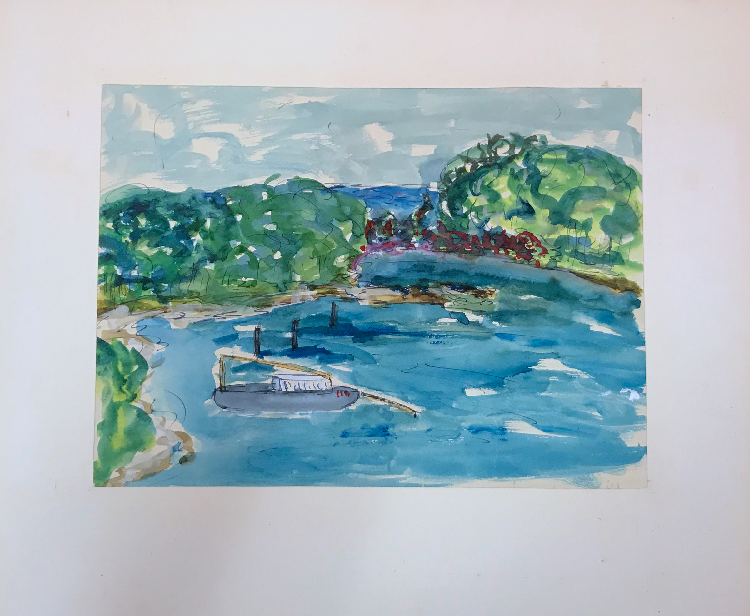 Landscape painting of a waterway with trees, shoreline, and a gray boat.