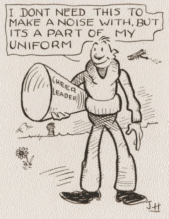 cartoon of man with megaphone
