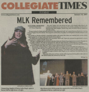 """MLK Remembered,"" Collegiate Times article, January 16, 2007, p. 1"