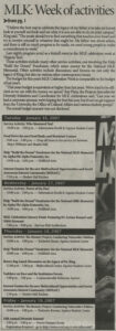 """""""MLK Remembered,"""" Collegiate Times article, January 16, 2007, p. 2"""