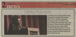 """Defining King's Legacy"", Collegiate Times, January 19, 2010"