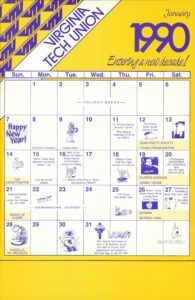 Virginia Tech Union calendar, January 1990
