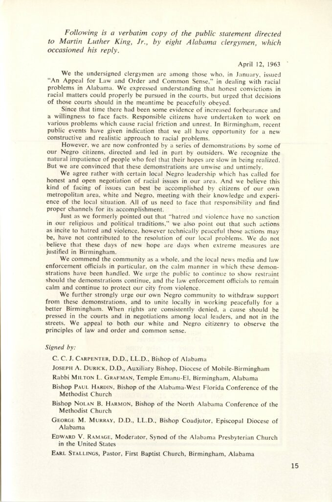P. 15, Letter from Birmingham City Jail by Dr. Martin Luther King, Jr., May 1963, from Bishop Marmion Papers