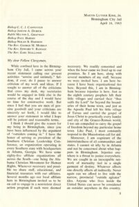 P.3, Letter from Birmingham City Jail by Dr. Martin Luther King, Jr., May 1963, from Bishop Marmion Papers