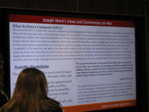 One of several digital posters by members of HIST1004 on the Letters of Joseph F. Ware, on exhibit, 12 December 2018