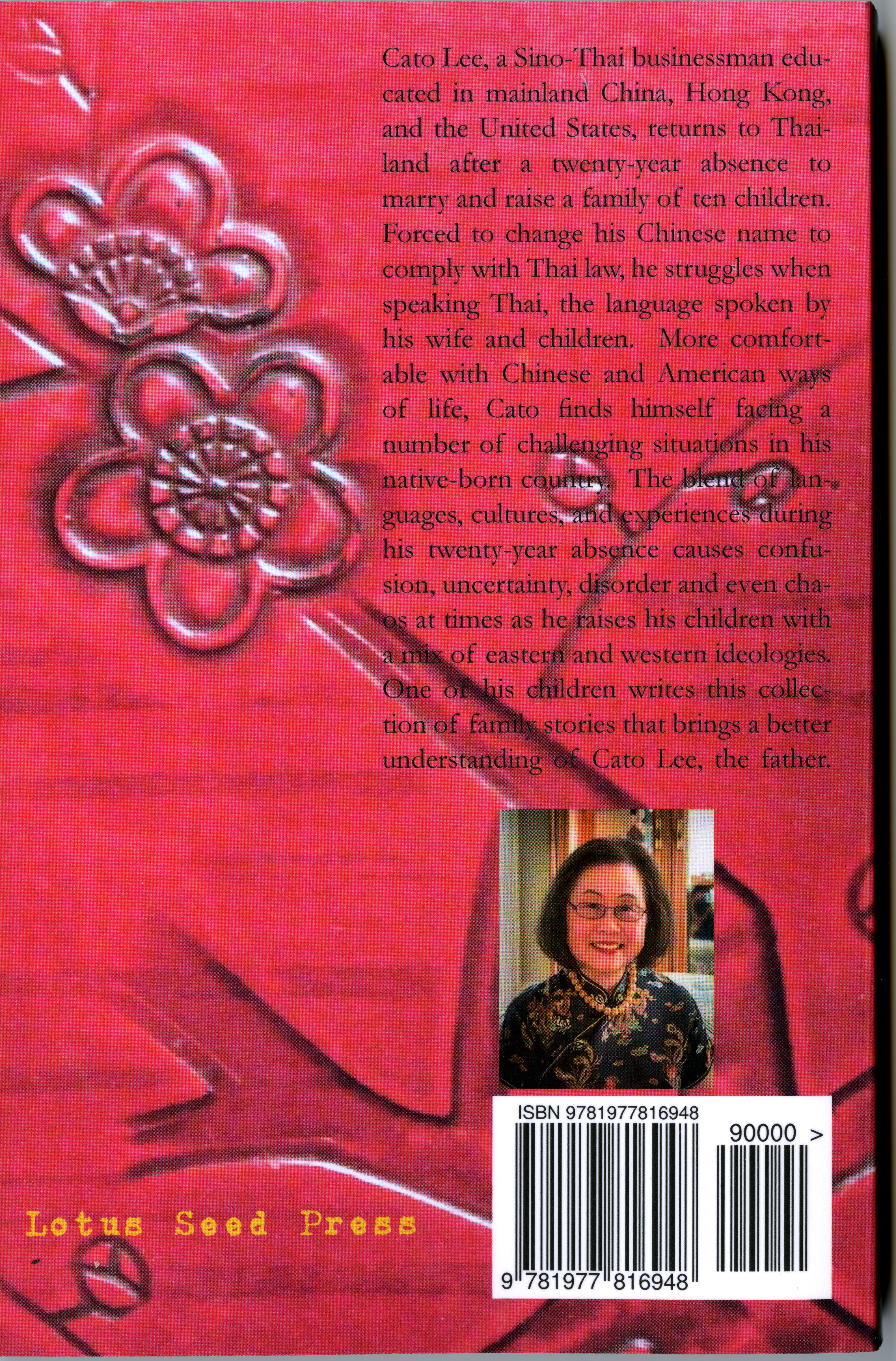 Text about the book and small image of the author on the back cover