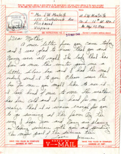 V-Mail from Lt. James Monteith, 27 May 1944
