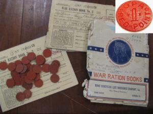 World War II rationing program materials [inset: OPA Red Point]